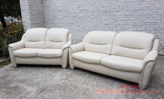 Белый кожаный  комплект 3+2
