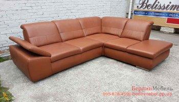 Кожаный нераскладной угловой диван