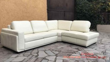 Белый кожаный угловой  диван