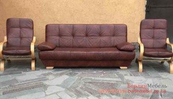 Кожаный диван книжка + 2 кресла