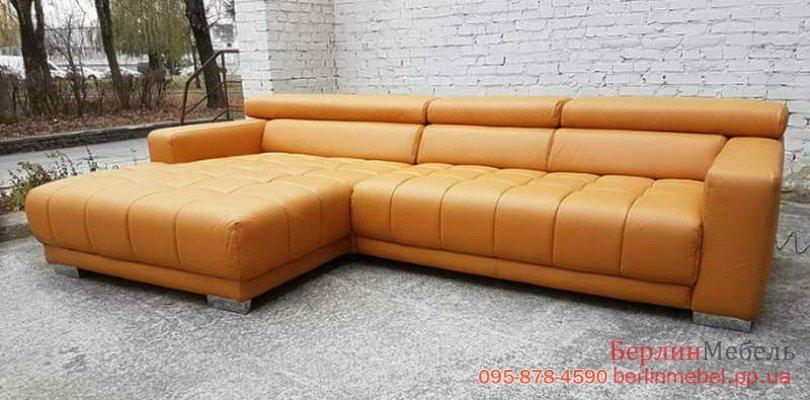 Кожаный угловой диван трансформер