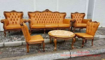 Кожаный комплект Барокко 3+1+1+1+1+стол