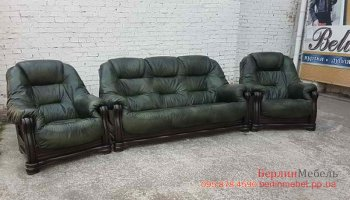 Набор кожаной мебели 3+1+1 на дубовом каркасе