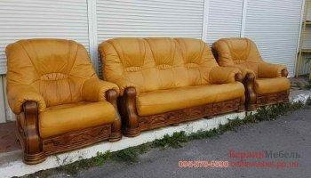 Набор кожаной мебели 3+1+1 на дубе