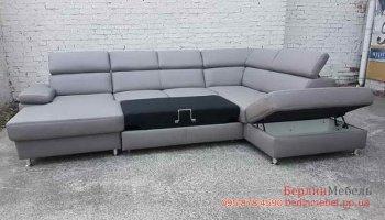 П-образный кожаный угловой диван