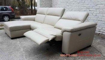 Угловой кожаный диван реклайнер