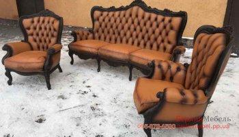 Комплект кожаной мебели барокко 3+1+1