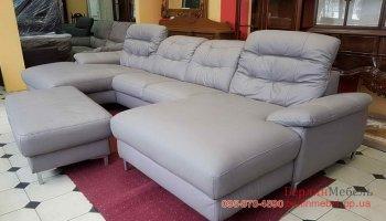 Кожаный п-образный диван + пуф