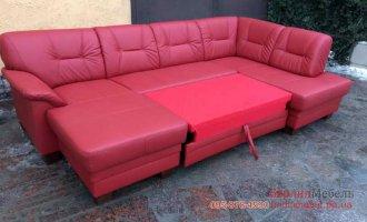 Кожаный п-образный диван в угол