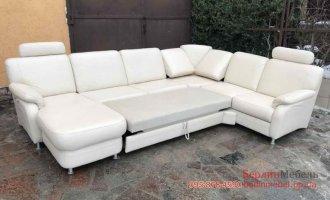 Кожаный п-образный раскладной диван