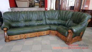 Кожаный угловой диван на дубе