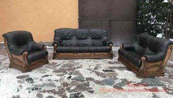 Набор кожаной мебели на дубе