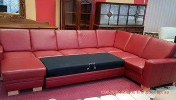 П-образный кожаный раскладной диван