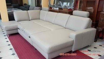 П-образный раскладной кожаный диван