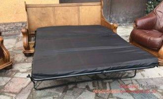 Раскладной кожаный комплект мебели 3+1+1
