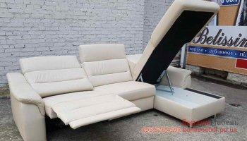 Угловой кожаный диван релайнер