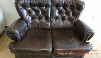 Двухместный кожаный диван Chesterfield