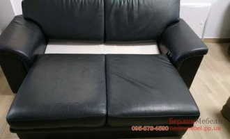Двухместный раскладной кожаный диван