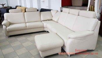 Кожаный угловой диван + пуф