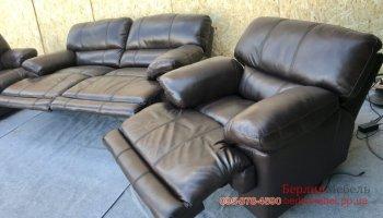 Комплект кожаной мебели 3+2+1 реклайнер