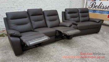 Комплект кожаных диванов реклайнер 3р+2
