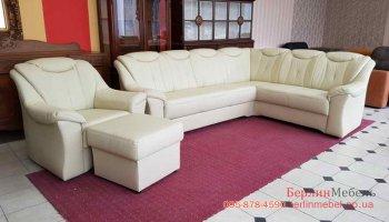 Кожаный  диван + кресло + пуф