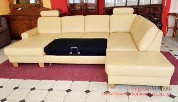 Кожаный п образный диван