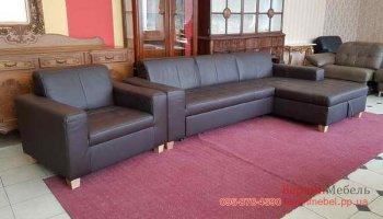 Кожаный угловой диван + кресло