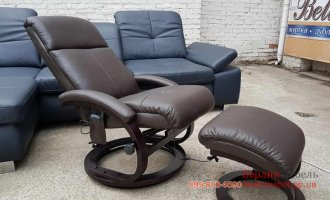 Массажное кресло реклайнер + пуф