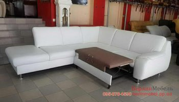 Модерновый кожаный угловой диван