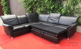 Раскладной кожаный угловой диван