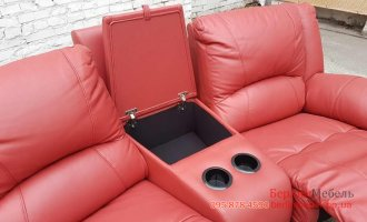 Трехместный кожаный диван реклайнер