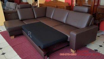 Кожаный раскладной угловой диван