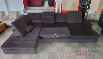 Большой замшевый п-образный диван