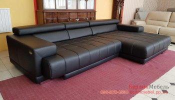 кожаный диван с релакс подголовниками