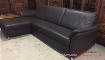 Кожаный угловой диван раскладной