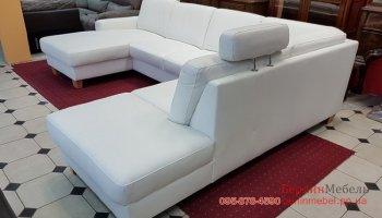 Новый  кожаный п-образный диван