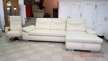 Кожаный диван с креслом реклайнер