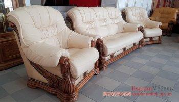 Кожаный комплект 3+1+1 мягкой мебели