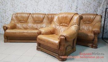 Кожаное кресло на деревянном каркасе б\у