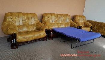 Раскладной кожаный комплект мягкой мебели на деревянном каркасе 3 + 2 + 1