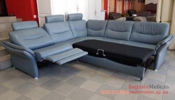 Кожаный угловой раскладной диван реклайнер