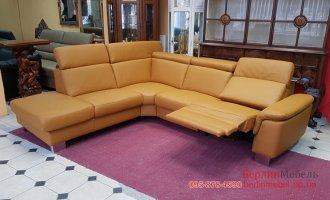 Кожаный угловой диван електрореклайнер