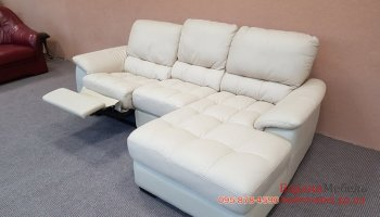Кожаный мягкий угловой диван реклайнер