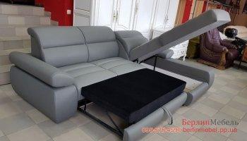 Новый кожаный угловой диван раскладной