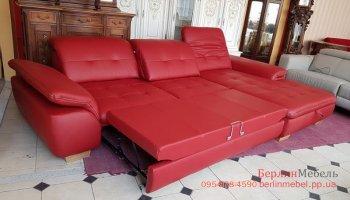 Новый кожаный раскладной угловой диван