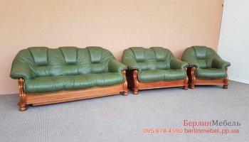 Кожаный комплект мягкой мебели на деревянном каркасе 3 + 2 + 1