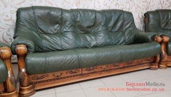 трехместный кожаный диван на дубовом каркасе