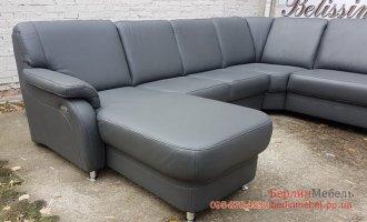 Новый  кожаный П-образный диван реклайнер