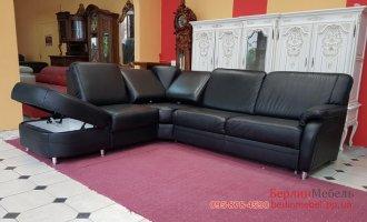 Кожаный угловой диван с релакс спинками